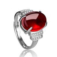 Vente en gros 10 PCS Plaqué Argent Plaqué Récisable Doigt Bague Ovale Shape Agate rouge et vert pour les femmes bijoux