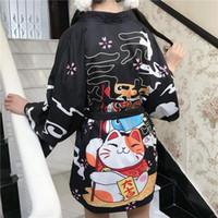 Instrine Noir Red Black Cat Imprimer 2021 Loose Summer Beach Cardigan Girls Harajuku Mode japonaise Mode Kimono Style Femme Tops Yukata