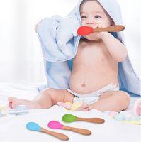 새로운 아기 먹이 숟가락 대나무 손잡이 실리콘 숟가락 아기 음식 숟가락 반 안티 - 스피드 및 가을 저항 훈련 숟가락 9090