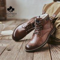 Decarsdz erkekler kar botları erkekler TPR dayanıklı taban deri ayakkabı erkekler yeni moda kısa peluş sıcak kürk kışlık çizmeler erkek botları 201215