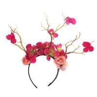 Decorações de Natal Mulheres Meninas Headband Flower Butterfly Decoração Banda de Cabelo Árvore Ramo Deer Antler Hoop Festival Partido Props1
