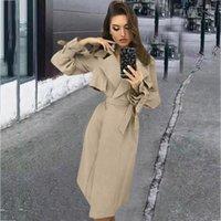 Chaquetas de mujer Otoño Invierno Chaqueta de moda Mujeres Costo Costo Cuello Cortavientos Frontal Wrap Abrigo Largo Abrigo Outwear Wholesale Ship gratis Z41