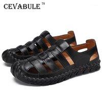 Cevabule 2020 Verão Moda Men's Beach Sapatos de Praia Grande Sandálias Respiráveis Retro Hand-Sew Baotou Sapatos Masculinos CLK1