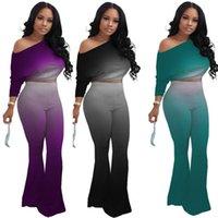 9 cores oblíquo ombro tracksuit mulheres moda sexy colheita top elogramas calças calças gradiente manga comprida roupa roupas de duas peças h2203