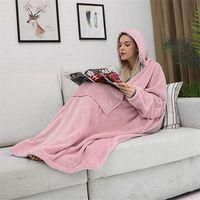 여성의 후드 티 스웨트 담요 슬리브 여성 대형 Hoodie Fleece 따뜻한 거대한 TV 겨울 솔리드 hoody 가운