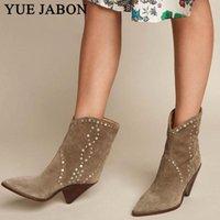 Botas Yue Jabon Brown Suede Cuero Mujer Tobillo Sexy Punta puntiaguda Slip en los zapatos de vaquero Motocicleta Chunky Heel