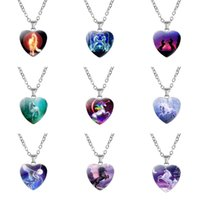 Nouveau Creative Licorne Horse Heart Coeur Pendentif Collier Collier Fête Home Enfants Beau Charme Cadeaux Livraison Gratuite