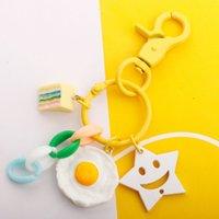 تقليد الغذاء الرمال الفاكهة مفتاح سلسلة الأزياء تنوعي مبتسم الوجه الطلاء الكلب زر diy قلادة طالب