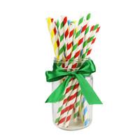 Одноразовые полосатые крафт-соломинки разлагаются экологически чистые полосатые бумаги соломинки свадьба детей день рождения вечеринка сока питьевой соломинки eef3603