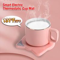 131 ° F / 55 ° C Temperatura constante Taza de café Calentador Calefacción Coaster Electric Coffee Tea Warmer Cup Thermostatic Cup Mat Regalo Set yl0199