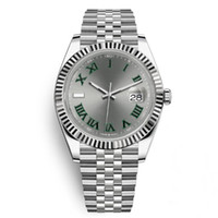 Top Mode Automatic Hommes Montre Grey Cadran Green Roman Deux tons Rose Rose Or 316L Steel 41mm GOLL QUALY BRACELET Montres Montre Femme Remogioes