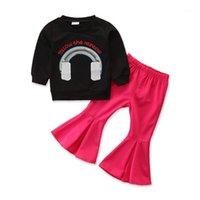 مجموعات الملابس 2021 خمر 1-6y طفل طفلة ملابس الترتر قوس قزح كم طويل البلوز قمم + مضيئة السراويل السراويل 2 قطع الاطفال set1