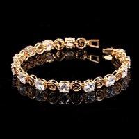 Braccialetto da tennis di cristallo zirconia cubico per le donne 19 cm alla moda con motivo vintage modello giallo oro gioielli whaleales H406