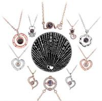 100 Sprachen Ich liebe dich Projektion Halskette 28 Arten Romantische Liebe Memory Hochzeit Anhänger Halskette Party Favor DDA3060