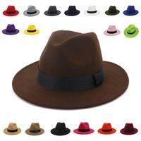 فيدورا القبعات الكلاسيكية خمر القبعات النساء الشتاء قبعة الخريف في الهواء الطلق عارضة شعرت قبعة الرجال الصلبة اللون fascinator قبعات الرجال النساء القبعات Q1216 Y0910
