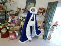 Королевская голубая свадебная куртка обертывания Fsahionable теплый зимний мех бархатные накидки для женщин мужчины косплей свадебные плащи