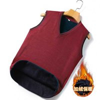 Chalecos para hombres más Velvet Chaleco de terciopelo y anciano Simple Silid Color Sweater V-cuello Papá Chaleco de piel