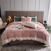 Подвесные комплекты 4 шт. Простой стиль 1,8 м кровать дома Текстиль роскошный молочный бархатный комплект зима толстый двухсторонний коралловый теплый белье 2.0