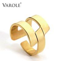 Varle فاسق مجردة هندسة الدائري ذهبي اللون الفولاذ الصلب الحد الأدنى خواتم الاصبع هندسية للنساء الأزياء والمجوهرات