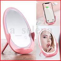 Specchio tascabile da viaggio con specchio tascabile da viaggio a LED portatile Qi Charging Wireless Touch Specchio con luce LED per il trucco di bellezza