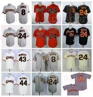Vintage 1989 Retror Baseball 24 Willie Mais Jersey 8 Hunter Pence 43 Dave Dravecky 44 Willie McCovey Nähte Orange Black White Gray beige