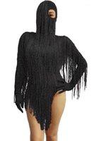 무대 착용 빨간색 전체 술 긴 소매 bodysuit 여성 댄스 프레임 레오타드 나이트 클럽 파티 여성 가수 의상 축하 Outfit1