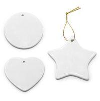Pusty Biały Sublimacja Puste Puste Ceramiczne Wisiorek Christmas Ozdoby Transferowe Drukowanie DIY Ornament Serce Okrągła Bożenarodzeniowa Dekoracja