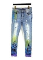 Yeni Lüks Tasarımcı Erkek Kot Slim-Bacak Degrade Renk Delikleri Denim Erkek Skinny Slim-Bacak Pantolon Klasik Hip Hop Sıcak Satılan Pantolon Boyutu Boyutu 29-38