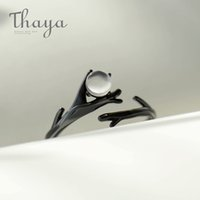 Thaya Original Moonlight лес дизайн пальца кольцо лунный камень драгоценного камня S925 серебряное черное ветвь кольцо для женщин элегантные украшения Y0122