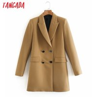 Tangada Women Solid Long Blazer Coat Vintage Double Breasted Long Sleeve 2020 Fashion Female Outerwear Chic Tops 2W159 X1214