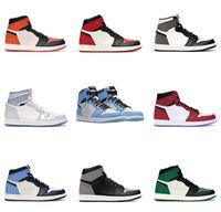 Con scatola 1 hot high og sindacata X Bred Satin Black Toe NRG No L S Università Blu Chicago Royal Varsity Red UNC Spaventa 1 Designer Shoes Shoes