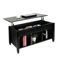 Mesa de café superior atualizado com compartimento escondido e prateleiras de armazenamento Modern home mobiliário de sala preta