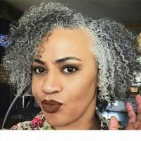 Afro Suff Curly Curly Cinzento Humano Humano Coração Drawstring Clipe em Prata Natural Pony Tail Afro Afro Cabelo Extensão
