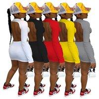 إمرأة فساتين الصيف لون نقي عالية تمتد طويل الأكمام مثير ملهى ليلي نمط اللباس زائد حجم النساء الملابس S-XXL