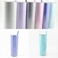 US Stock 20oz Glittering Rainbow Paint Tumblers Sublimation 600ml Stainless Steel Cup Water Coffee Mug Straws Lids Fruit Juice Hot Sale