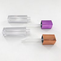 Оптом пустые контейнеры для губной лоссы прозрачные Cuboid прозрачные косметические помада трубки упаковки губ глянец
