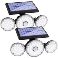 태양 램프 조명 야외, 모션 센서 라이트, 70 LED 조정 가능한 머리 홍수 조명, 방수 270 ° 회전 무선 스포트라이트
