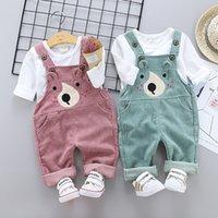 2020 Bébé Vêtements d'été Enfant Garçons Enfant Enfants Enfants Combinaison Pantalons suspendus Chemise Casual Côtel Courbe Bébé Pantalon Solide Outwear Y1113