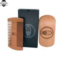 MOQ 100 наборов пользовательских логотипов бороды груминга Kit Beard Щетка и двойные стороны персики древесины с логотипом черная подарочная коробка