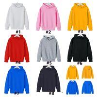 Çocuklar Tişörtü Kız Erkek Katı Renk Pamuk Kapüşonlu Tops Hoodie Ceket Kaban Çocuk Sonbahar Kış Giysileri Giyim G12705
