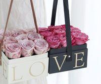 Boîte de fleurs avec poignée à main Bucket Hauteur Rose Fleuriste Cadeau Cadeau Cadeau Cadeau Carton Boîtier d'emballage