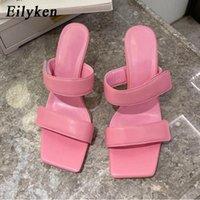 Eillken 2021 новый дизайн женские тапочки женские дамы лето на высоком каблуке сандалии с открытым носком скольжение на элегантных скольжениях Mujer # X39P