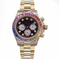 Alta Qualidade 18k Gold Mens Womens Relógios 40mm colorido Diamantes Movimento Movimento Automático Varredura Relógio Mecânico de Aço Inoxidável
