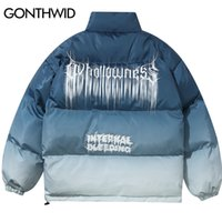GONTHWID Hip Hop Gradient Tie Dye Print Cotton Padded Puffer...