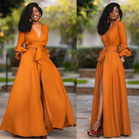Vestidos Casuais Elegante Split Maxi Mulheres Outono Deep V Neck Manga Longa Vestido De Festa Senhoras Sexy Slim Plus Size Roupas Africanas