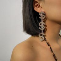 New Exagéré strass Boucles d'oreilles longues pour les femmes Dollar Girl Party Bijoux de mariage Vintage Brillant Dangle Déclaration Pendentif Boucles d'oreilles pendantes