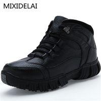 MIXIDELAI Süper Sıcak Hakiki Deri Kış Askeri Kürk Çizmeler Erkekler Için Ayakkabı Zapatos Hombre Y200915