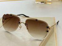 0267 Nuevo estilo avanzado, mujeres y hombres, gafas sin montura retro de espejo retro chapado en oro con estilo popular simple para enviar funda de gafas