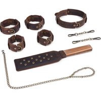 Vintage Style Sex Kit Genuine Leather Set Bdsm Handcuffs Spanking Paddle Ankle Cuff Dog Ankle Collar Whip For Adult Game Y201118