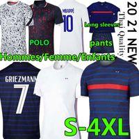 2020 21 France Mbappe Griezmann Pogba National Soccer Jerseys Polo Pantalon Hommes Enfants Femme Maillot de Foot Hommes Chemises Enfants Chemises Uniformes